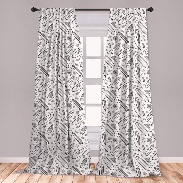 Sea Rises Bright Moon Kitchen Curtains 2 Panel Set Decor Window Drapes