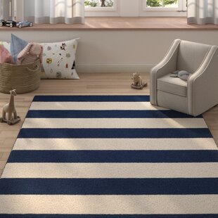 Claro Stripe Hand Tufted Navy Ivory Area Rug