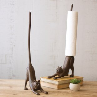 Cast Iron Cat Free-Standing Paper Towel Holder