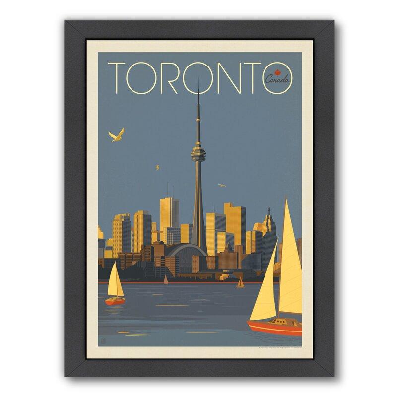 East Urban Home Canada Toronto Sailboats Graphic Art Print On Wrapped Canvas Wayfair