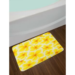 Plumeria Yellow and White Yellow Bath Rug