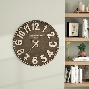 Review Oversized Oranger Wooden 28 Wall Clock by Gracie Oaks