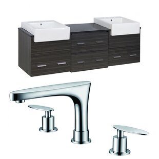 Hindman 74 Wall-Mounted Double Bathroom Vanity Set ByRoyal Purple Bath Kitchen