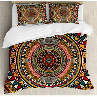 Tribal African Folkloric Tribe Round Pattern with Ethnic Colors Aztec Art Duvet Cover Set