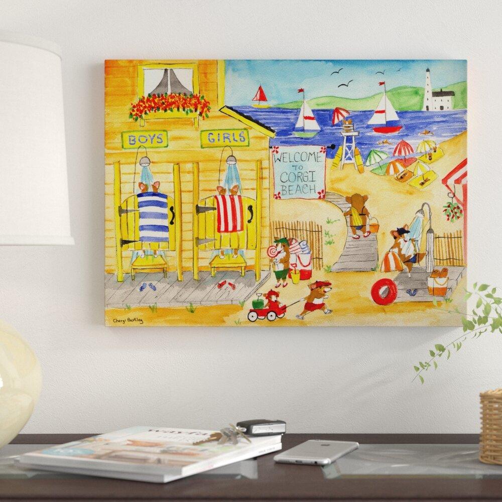 Winston Porter \'Welcome To Corgi Dog Beach\' Acrylic Painting Print ...