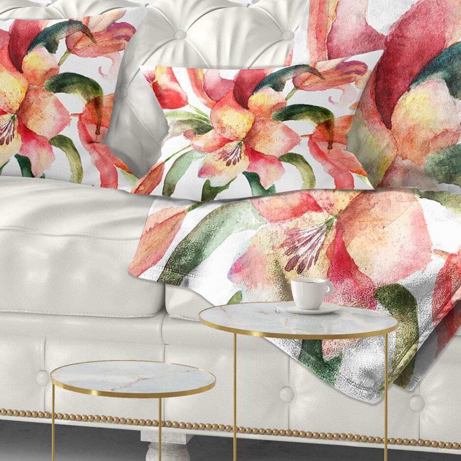 East Urban Home Floral Lily Flowers Watercolor Illustration Lumbar Pillow Wayfair