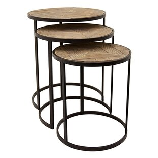 Chandeleur 3 Piece Metal and Wood Nesting Tables
