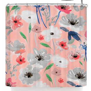 Mukta Lata Barua Blush Garden Single Shower Curtain by East Urban Home New Design