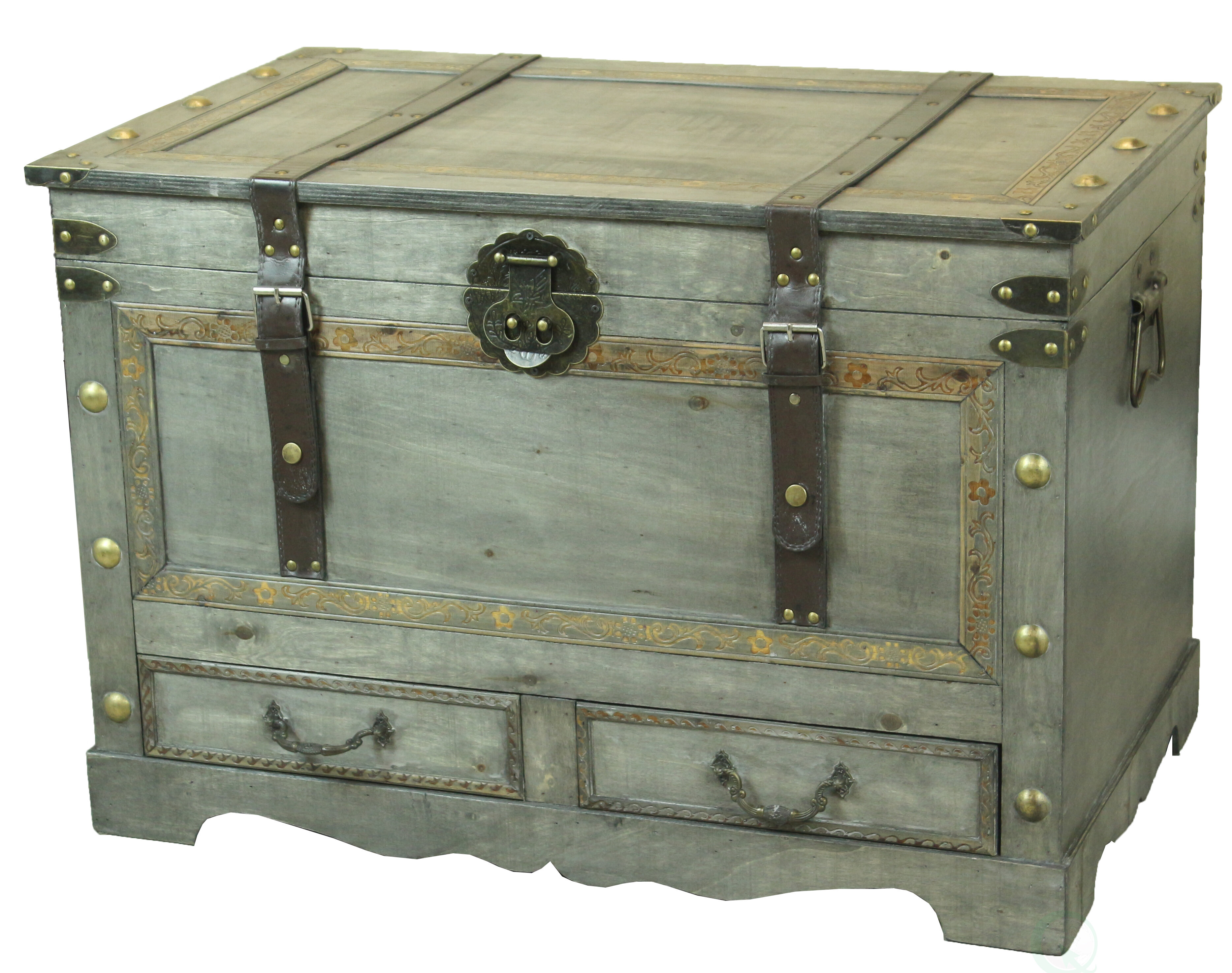 Williston Forge Alida Rustic Wooden Coffee Table Trunk