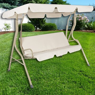 Steele Patio Swing Canopy Hammock Glider Bench With Cushions