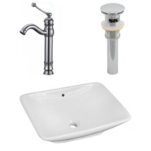 Check Prices Ceramic Rectangular Vessel Bathroom Sink with Faucet and Overflow By Royal Purple Bath Kitchen