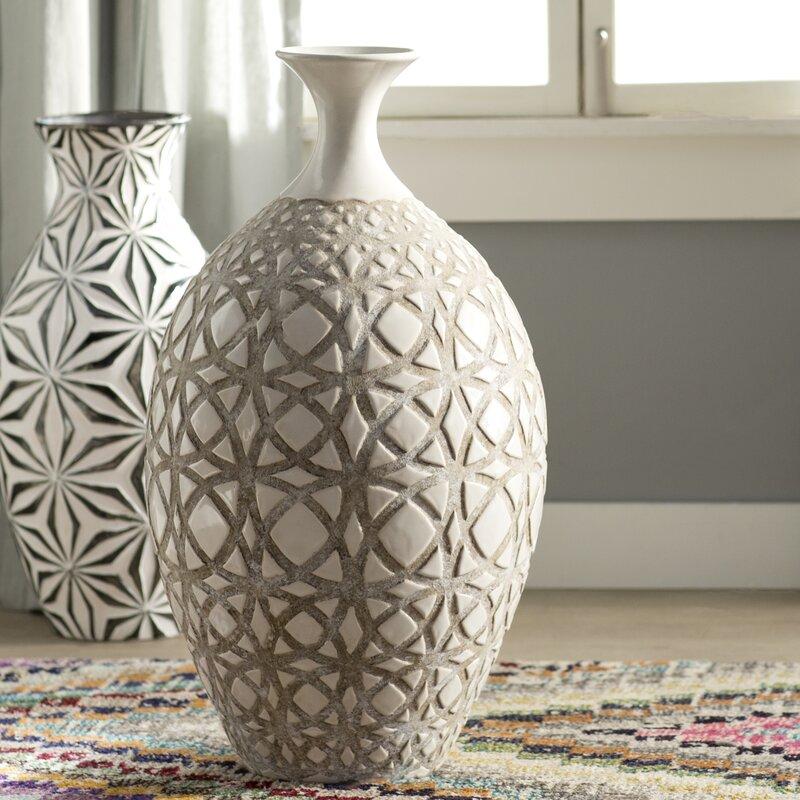 Tall Ivory Earthenware Floor Vase Amp Reviews Joss Amp Main