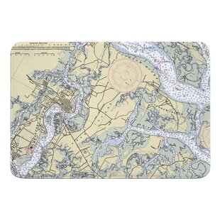 Hofmeister Beaufort And Ladys Island, SC Nautical Chart Memory Foam Bath Rug by Breakwater Bay