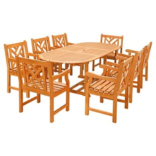 Vifah Seven Piece Outdoor Dining Set with Oval Table