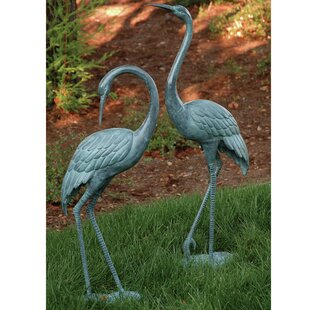 Beau Medium Garden Crane Pair Statue