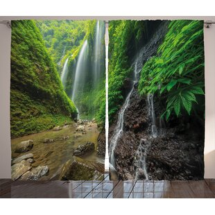 Waterfall Waterfalls Side Valley In Indonesia With Asian Bushes Above The Hills Graphic Print Text Semi Sheer Rod Pocket Curtain Panels Set Of 2