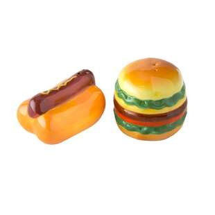 Tiedeman Picnic Hamburger and Hot Dog Ceramic 2 Piece Salt and Pepper Set