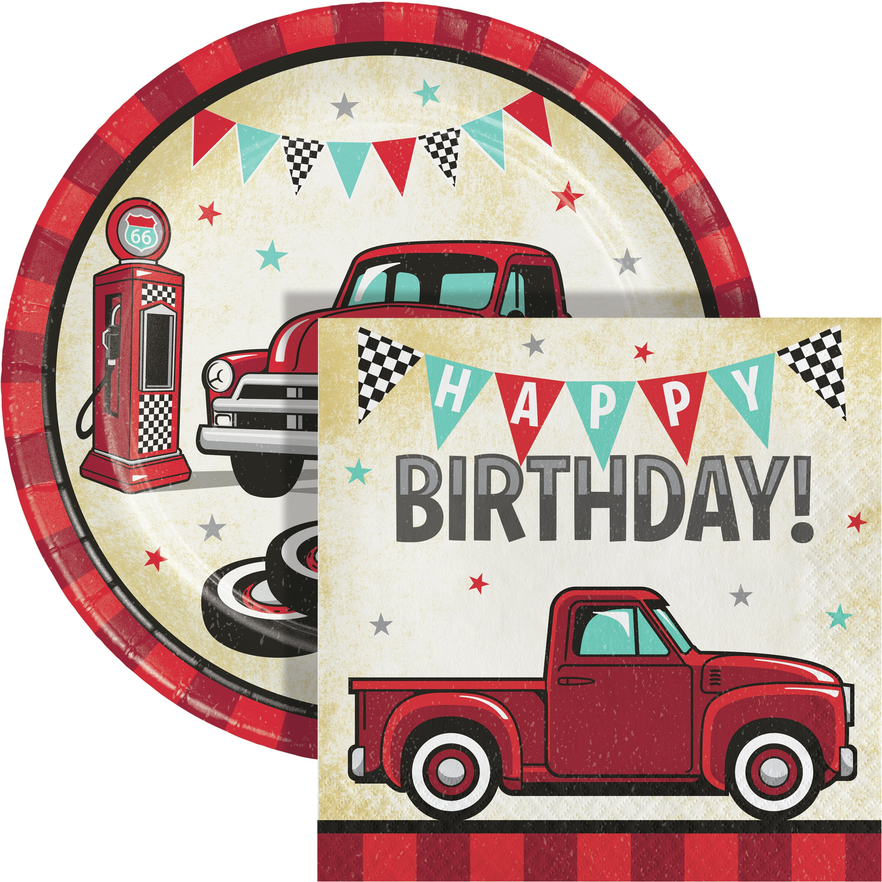 Creative Converting Vintage Red Truck Party Supplies Kit For 24 Guests Wayfair