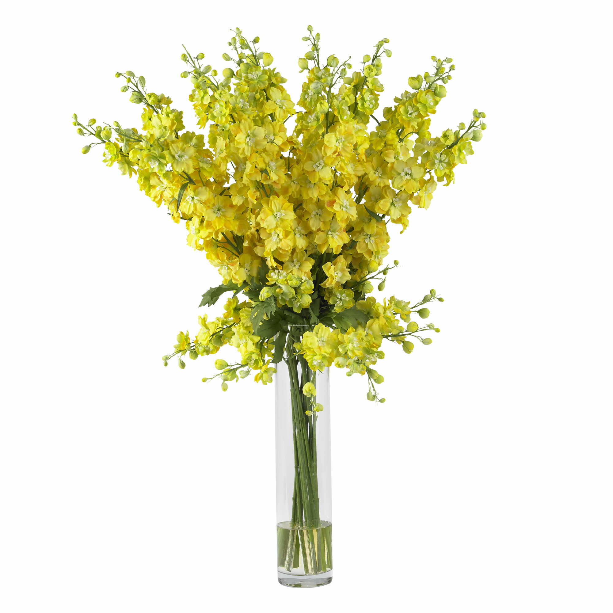 Nearly Natural Delphinium Silk Flower Arrangement In Yellow