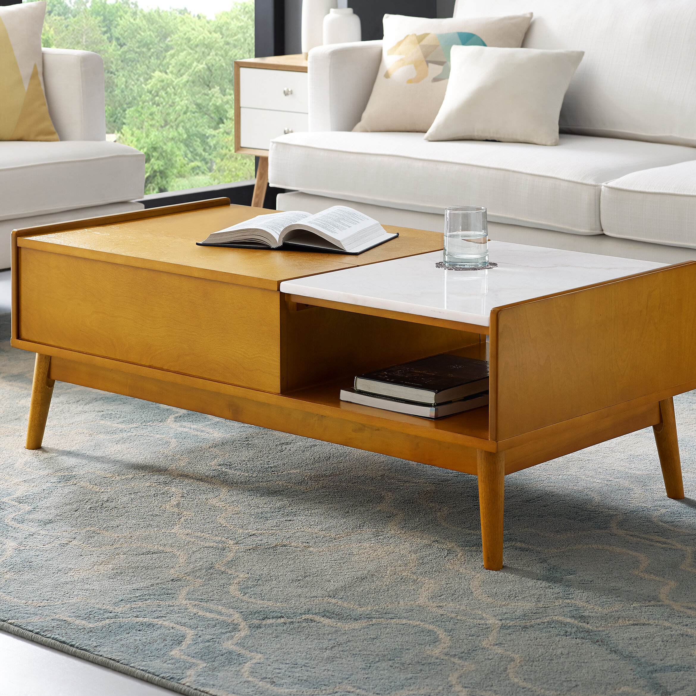 - Langley Street Easmor Lift Top Extendable Coffee Table With