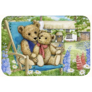 Justin Teddy Bears in Flowers Kitchen/Bath Mat