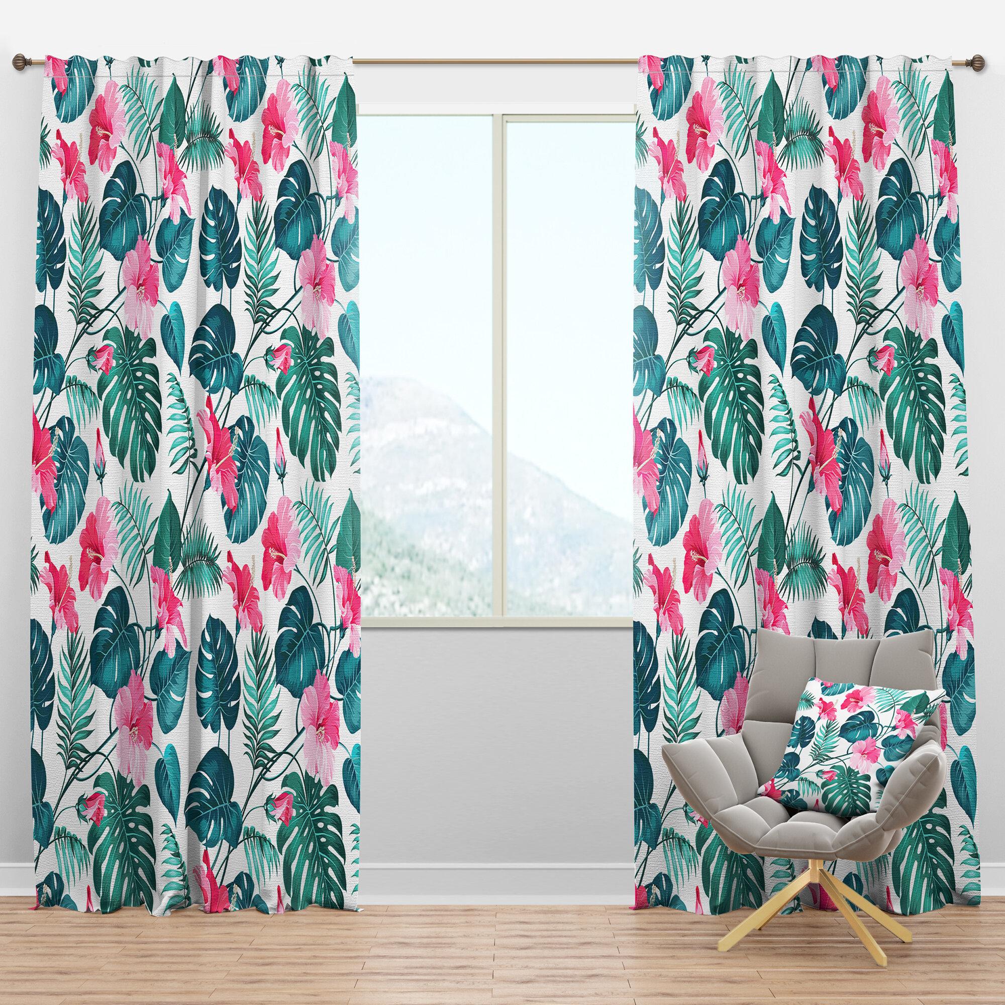 Designart Tropical Blossom Flowers Floral Semi Sheer Thermal Rod Pocket Curtain Panel Wayfair