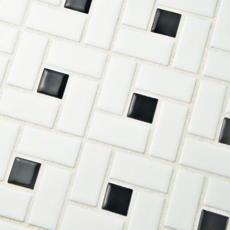 Retro Random Sized Porcelain Mosaic Tile in White/Black