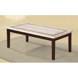 Mccully Faux Marbelized Granite Top Coffee Table