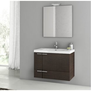 Phinex 32 Wall-Mounted Single Bathroom Vanity Set with Mirror