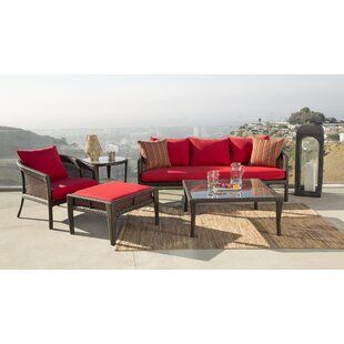 Fincham Outdoor Wicker 5 Pieces Rattan Sunbrella Conversation Set with Cushions by August Grove