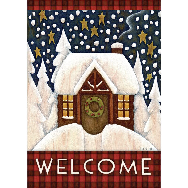 Toland Home Garden Snowy Cabin 28 X 40 Inch House Flag Wayfair