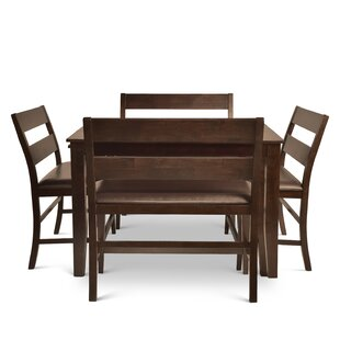 Wynwood Counter Height Dining Set with 4 Benches Alcott Hill