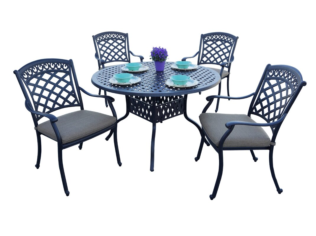 Fleur De Lis Living Brookville 5 Piece Dining Set with Cushions