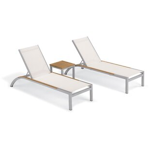 Brayden Studio Saint-Pierre 3 Piece Reclining Chaise Lounge with Table
