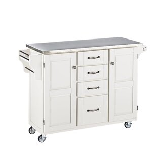 Adelle-a-Cart Kitchen Island with Stainless Steel Top