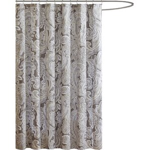 Hixson Cotton Shower Curtain. Charcoal Gray Soft Blue
