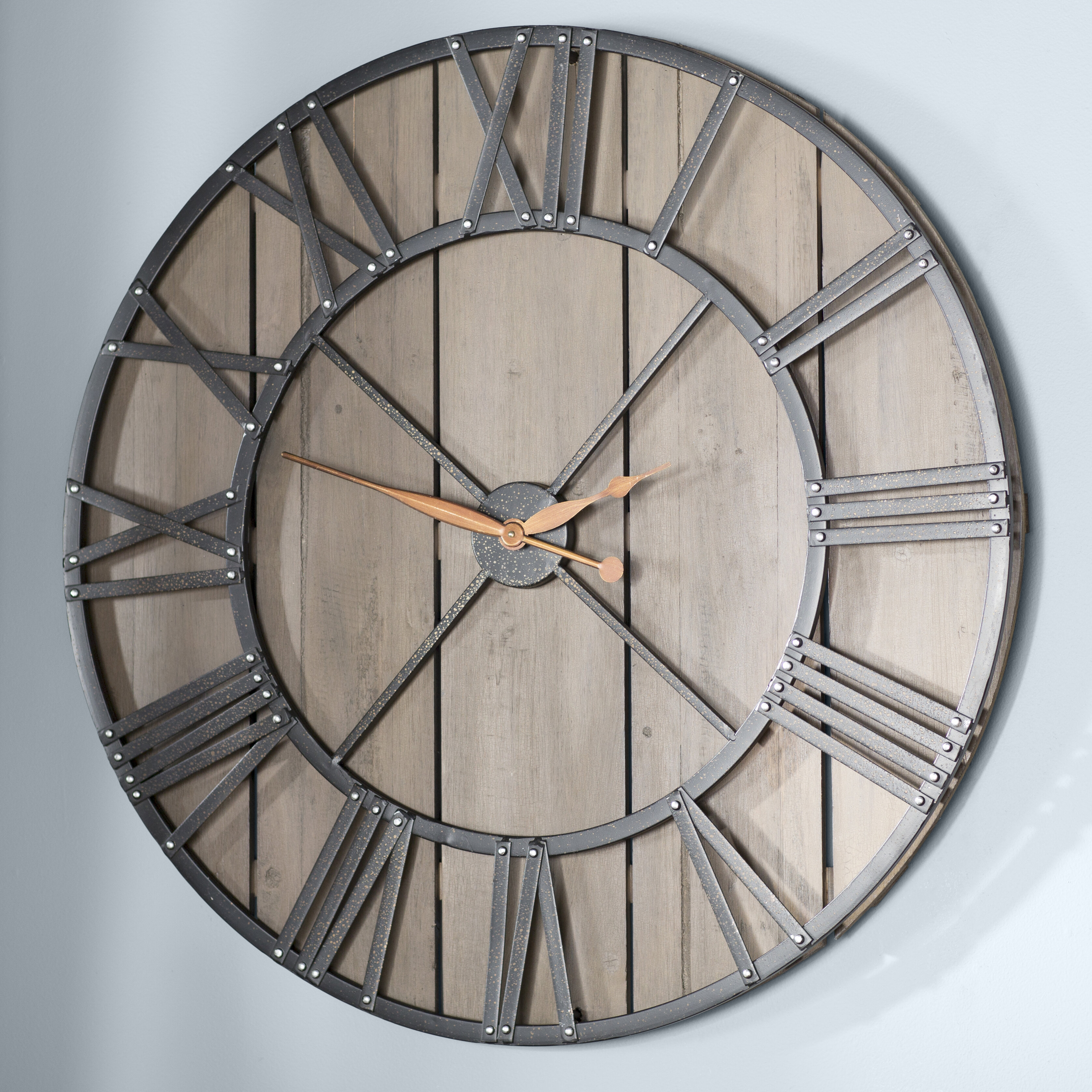 Birch Lane Oversized Thomaston Barnwood 36 Wall Clock Reviews Wayfair Ca