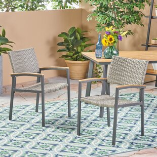 Boone Outdoor Wicker Patio Dining Chair (Set of 2)