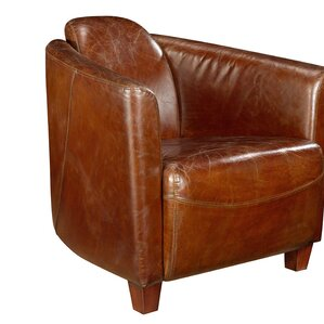 Kailey Leather Barrel Chair by 17 Stories