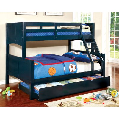 Kolb Twin Over Full Bunk Configuration Bed with Trundle Zoomie Kids Bed Frame Color: Blue