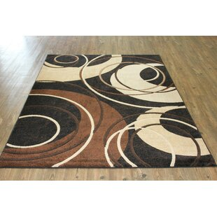 Top Maximilian Geometric Brown/White Area Rug ByWrought Studio