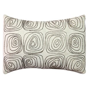 Spiral Embroidered Cotton Lumbar Pillow
