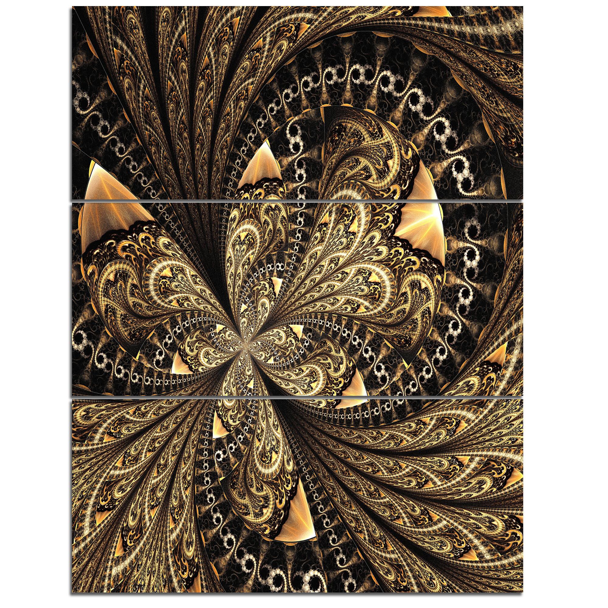 Designart Brown Fractal Flower Pattern Digital Art 3 Piecegraphic Art On Wrapped Canvas Set Wayfair