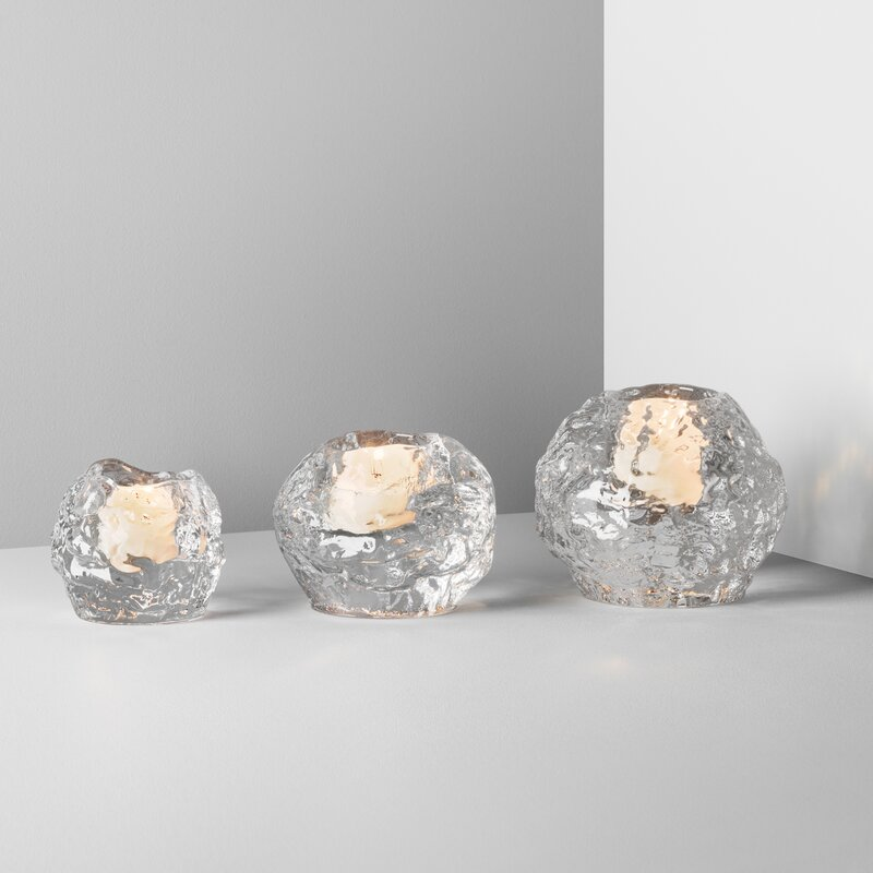 Kosta Boda Snowball 3 Piece Glass Votive Holder Set Reviews Wayfair