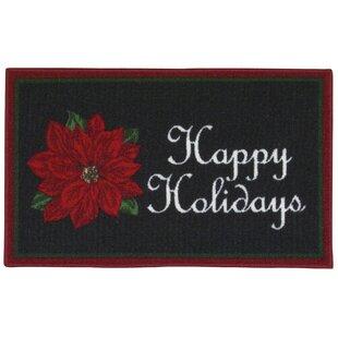Read Reviews Happy Holidays Black Area Rug ByThe Holiday Aisle