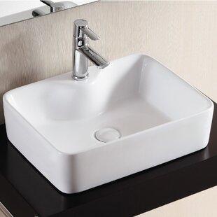 Savings Ceramica II Ceramic Rectangular Vessel Bathroom Sink ByCaracalla