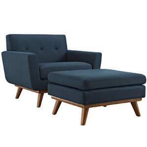 Saginaw Armchair and Ottoman by Corrigan Studio