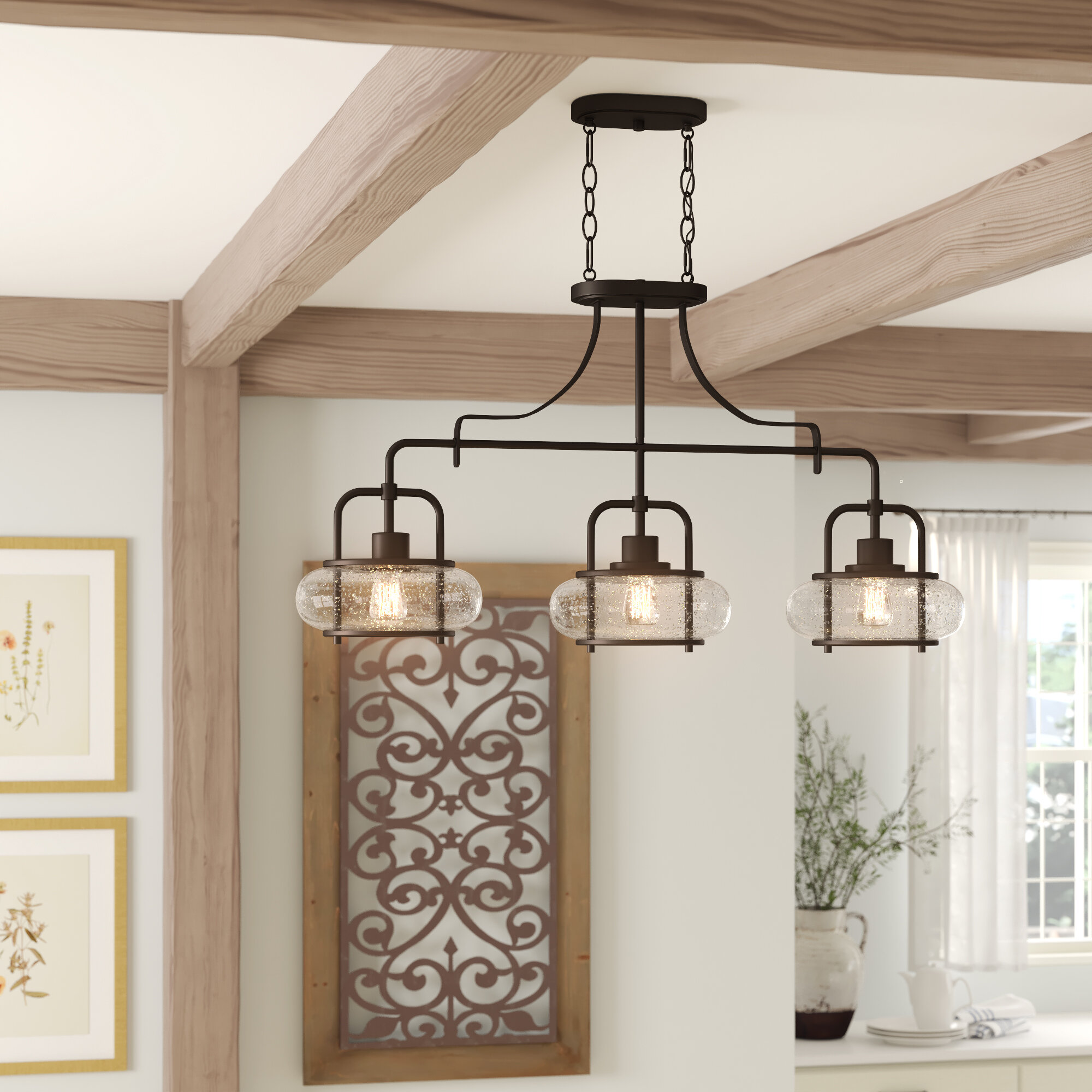 Image of: Tulia 3 Light Kitchen Island Linear Pendant Reviews Birch Lane