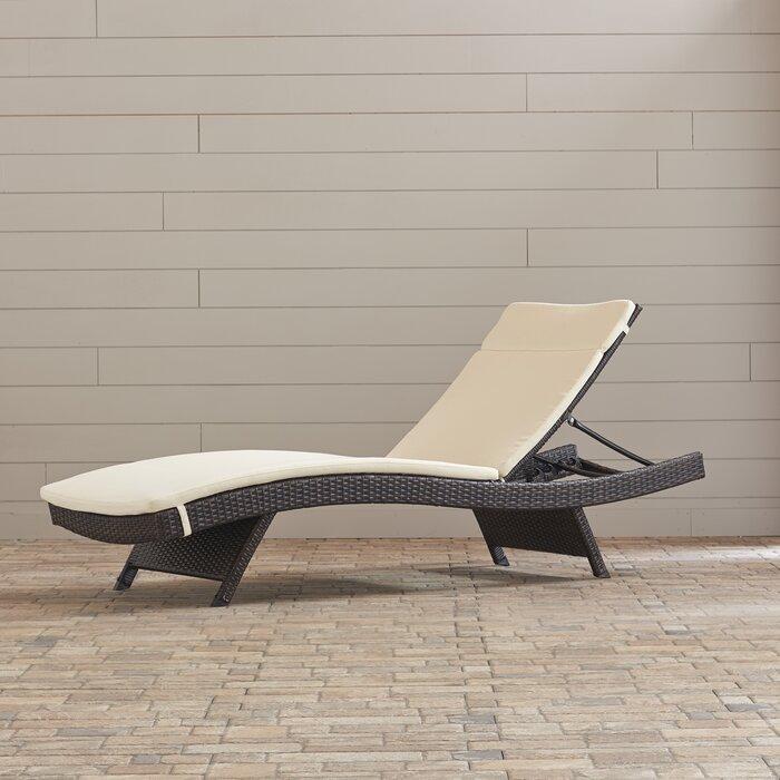 Fine Garry Wicker Reclining Chaise Lounge With Cushion Machost Co Dining Chair Design Ideas Machostcouk