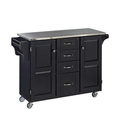 Adelle-a-Cart Kitchen Island with Stainless Steel Top Base Color: Black by August Grove